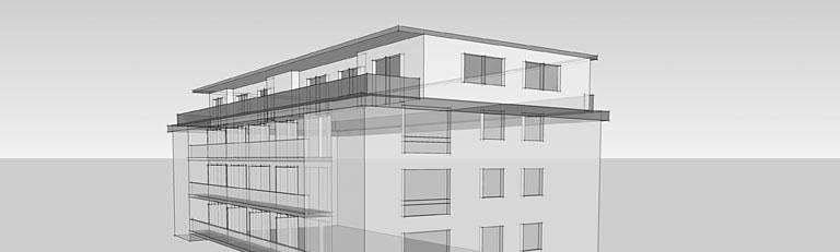 Aufstockung Wohnungsbau, 3d Ansicht