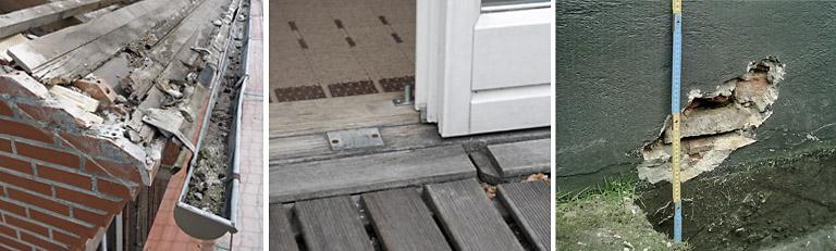 Bauschäden Dachgaube , Sockel , Dach , Terrasse